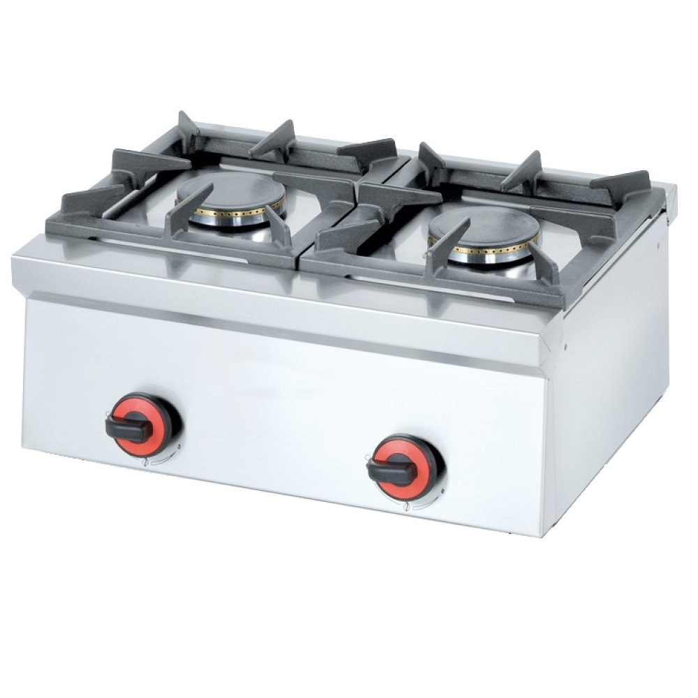 Eurast 44120M10 Gas boiling 2 burners table top - 600x450x240 mm - 9 Kw