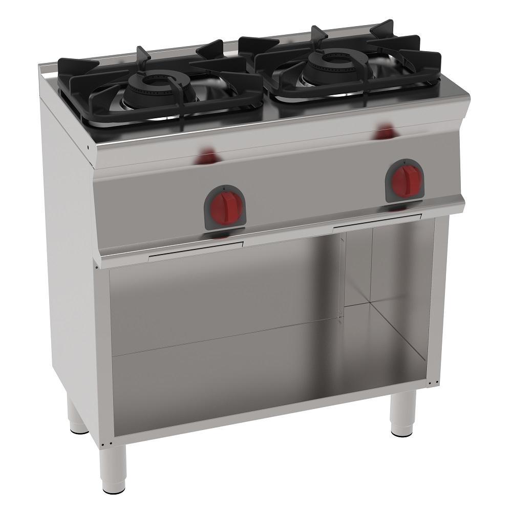 Eurast 33890317 Cocina 2 fuegos a gas sobre soporte abierto - 800x450x900 mm - 14.4 Kw