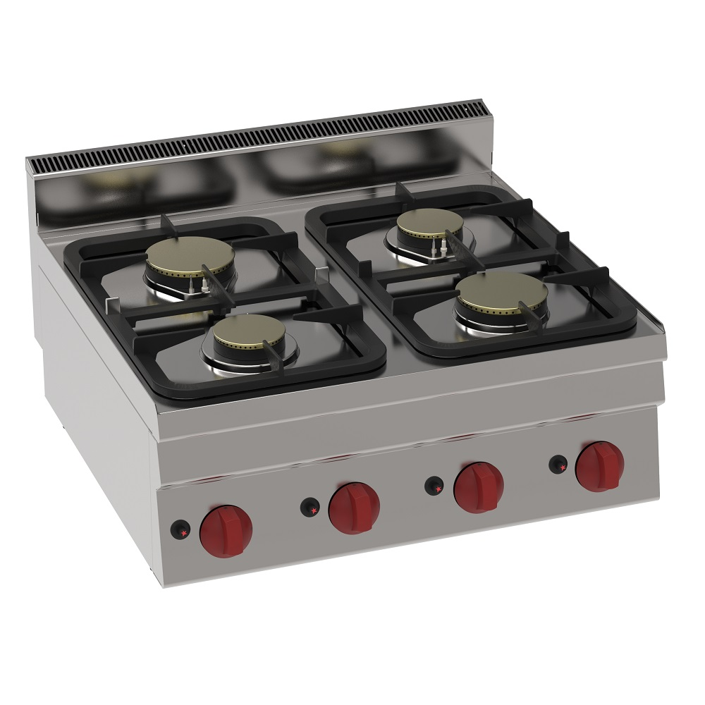 Eurast 33730321 Gas boiling 4 burners table top - 700x600x280 mm - 17 Kw
