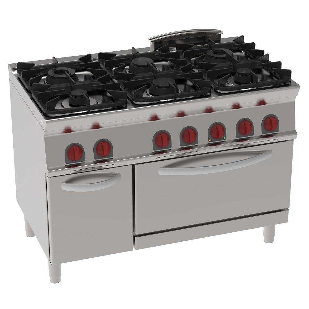 Eurast 35360317 Cocina 6 fuegos a gas 1 horno estático eléc. gn 2/1 - 1200x700x900 mm - 30 Kw + 4,7