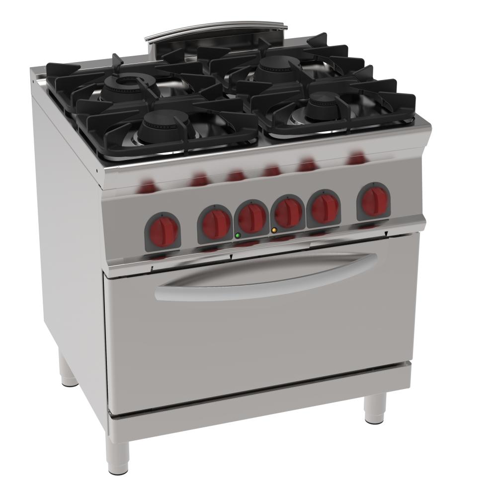 Eurast 41950317 Cocina 4 fuegos a gas 1 horno a conv. eléc. gn 2/1 - 800x700x900 mm - 19.5 Kw + 5 Kw