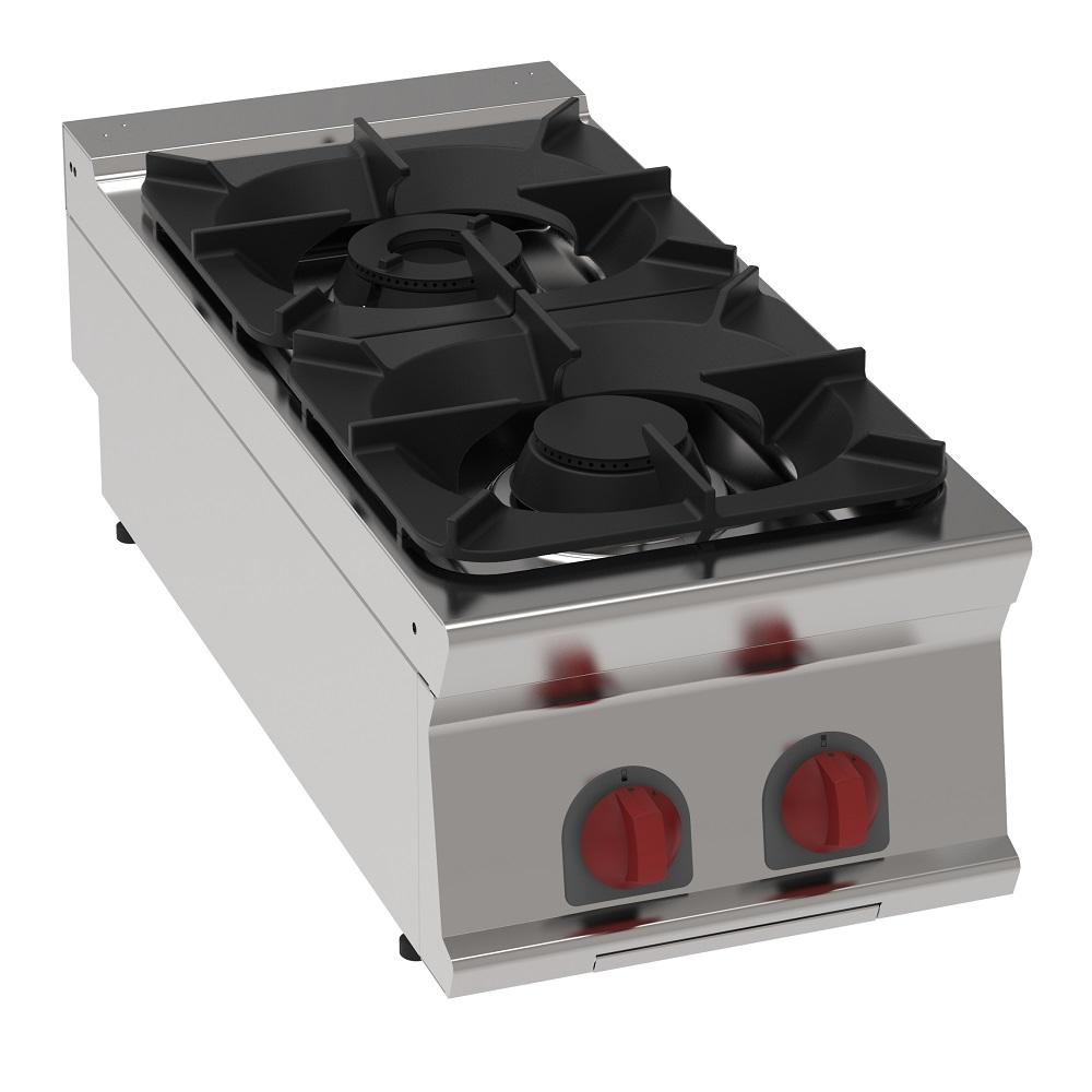 Eurast 34100313 Hornillo a gas 2 fuegos de sobremesa - 400x900x280 mm - 14.5 Kw