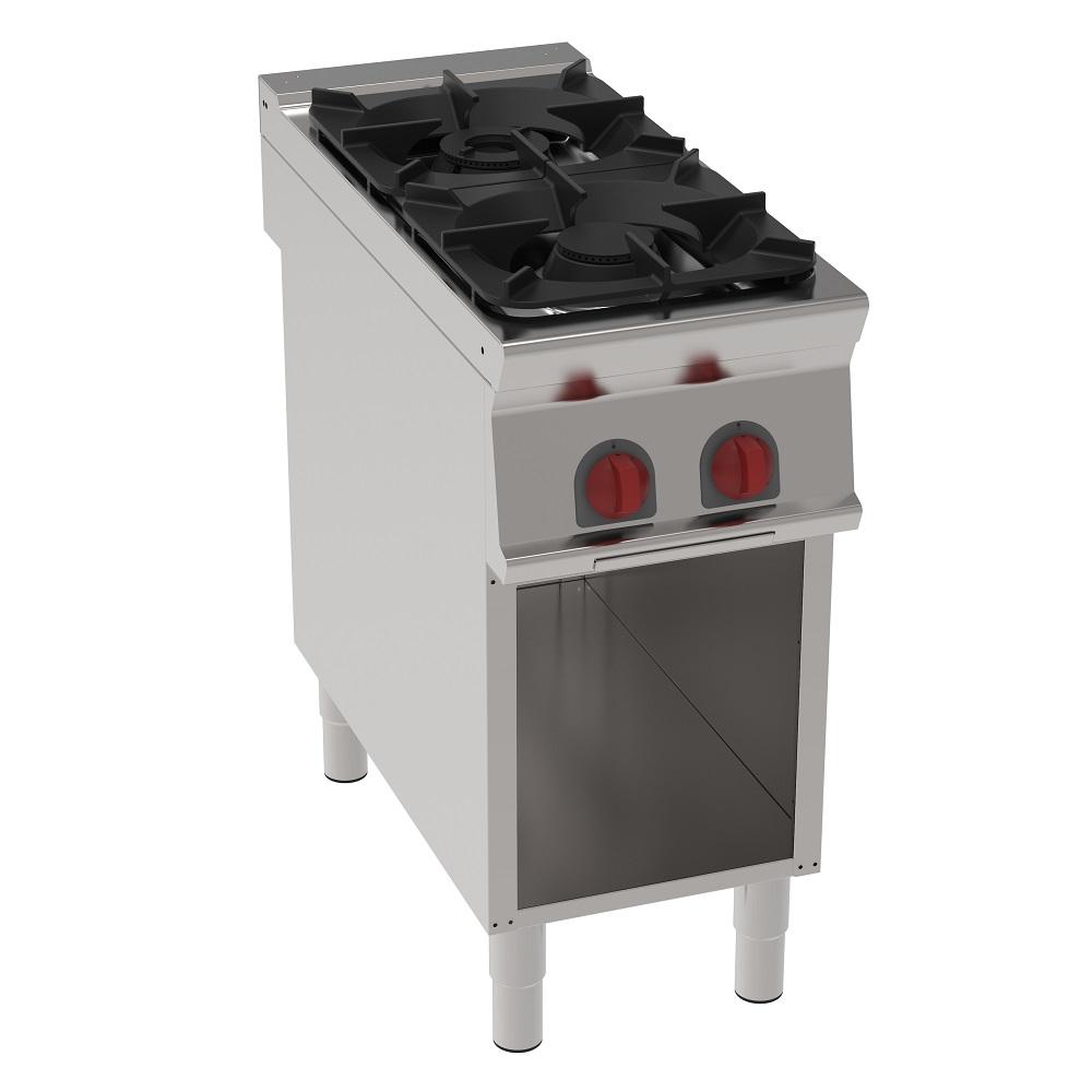 Eurast 34410313 Cocina 2 fuegos a gas sobre soporte abierto - 400x900x900 mm - 14.5 Kw