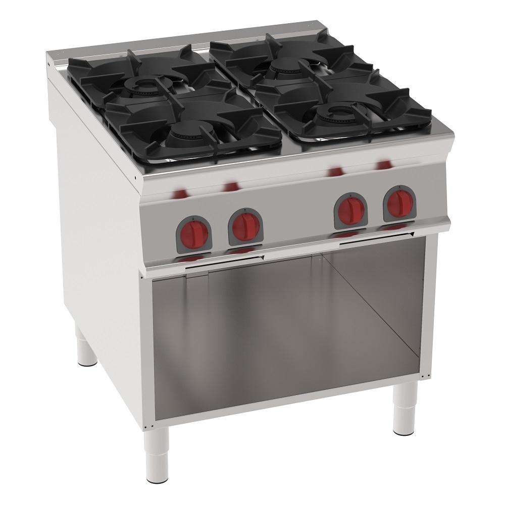 Eurast 34610313 Cocina 4 fuegos a gas sobre soporte abierto - 800x900x900 mm - 29 Kw