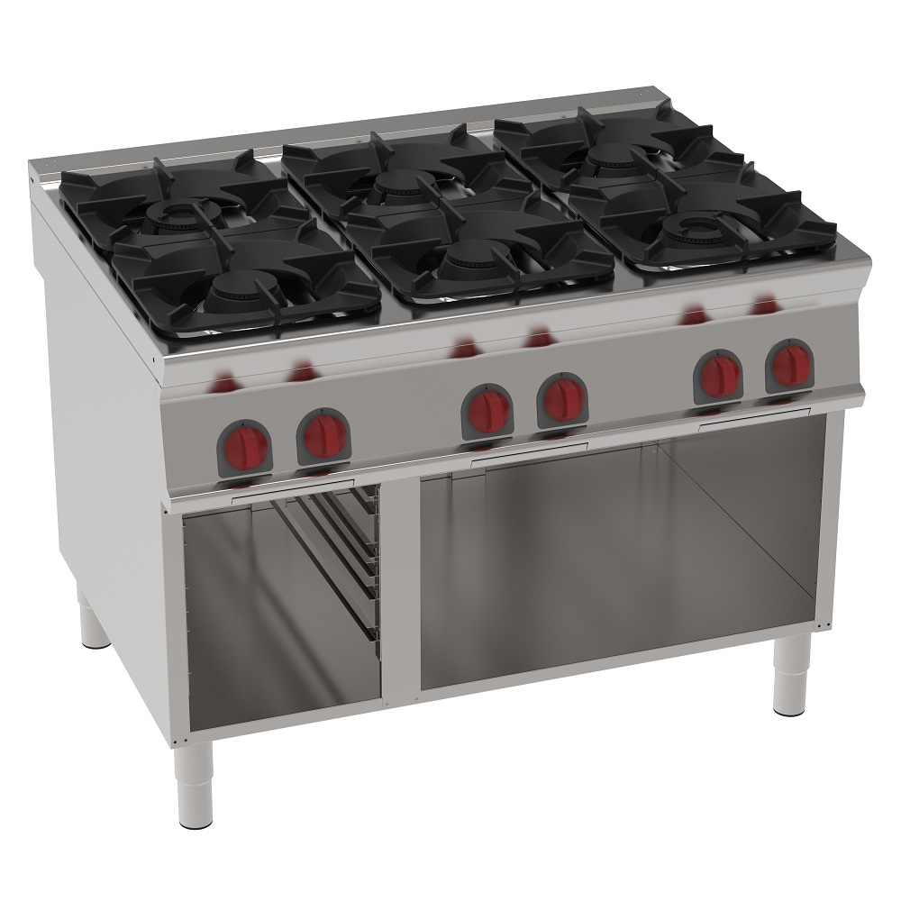 Eurast 34810313 Gas cooker 6 burners on open support - 1200x900x900 mm - 40 Kw