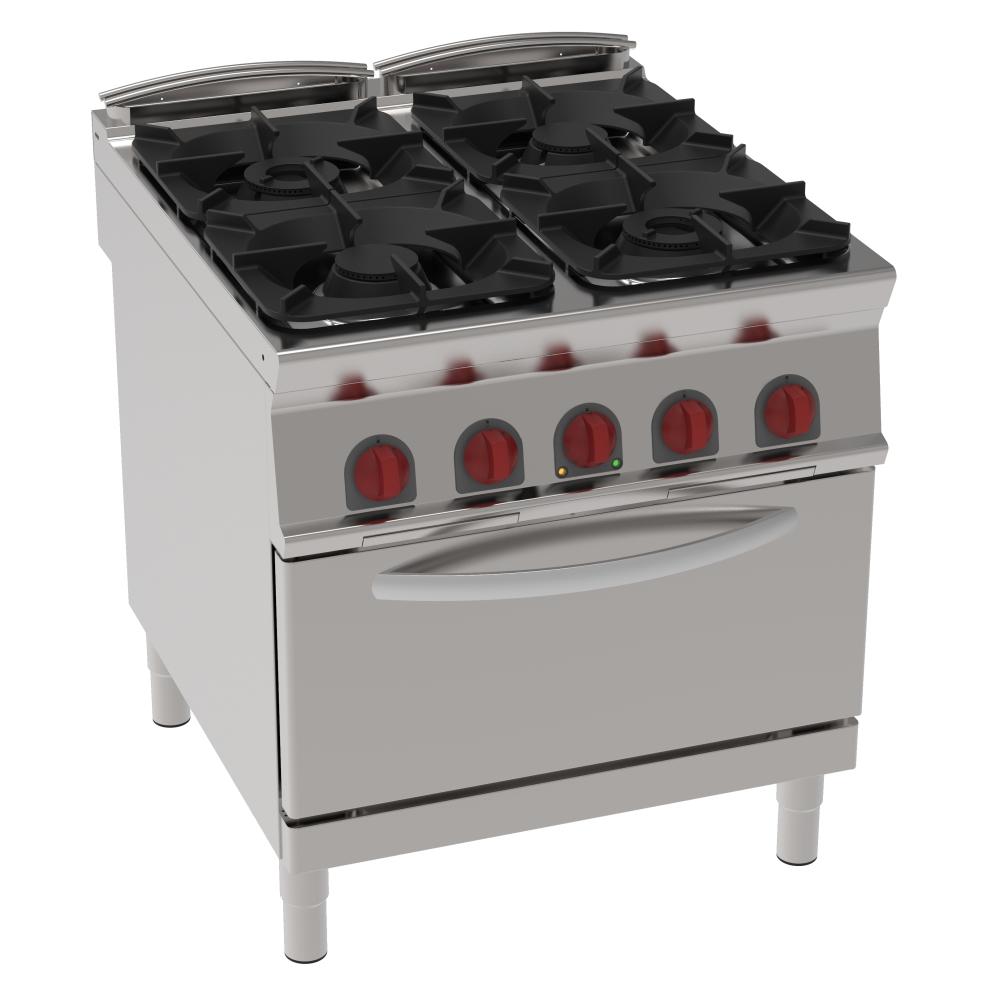 Eurast 34920313 Cocina 4 fuegos a gas 1 horno estático eléc. gn 2/1 - 800x900x900 mm - 29 Kw + 5,3 K