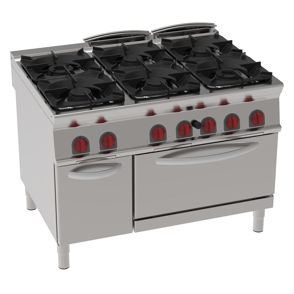Eurast 34330313 Cocina 6 fuegos a gas 1 horno estático a gas gn 2/1 - 1200x900x900 mm - 47 Kw