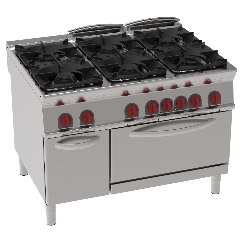 Eurast 34430313 Cocina 6 fuegos a gas 1 horno estático eléc. gn 2/1 - 1200x900x900 mm - 40 Kw + 5,3