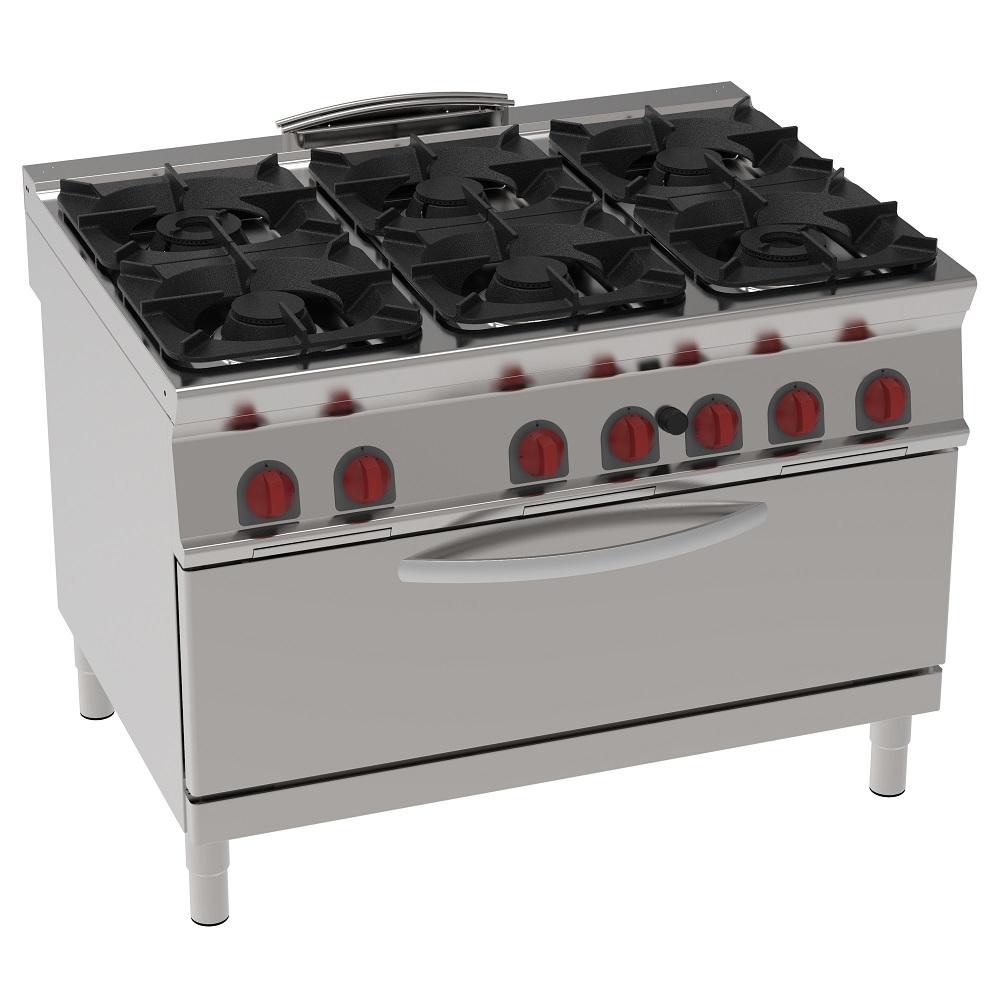 Eurast 34630313 Cocina 6 fuegos a gas 1 horno estático a gas che - 1200x900x900 mm - 49 Kw