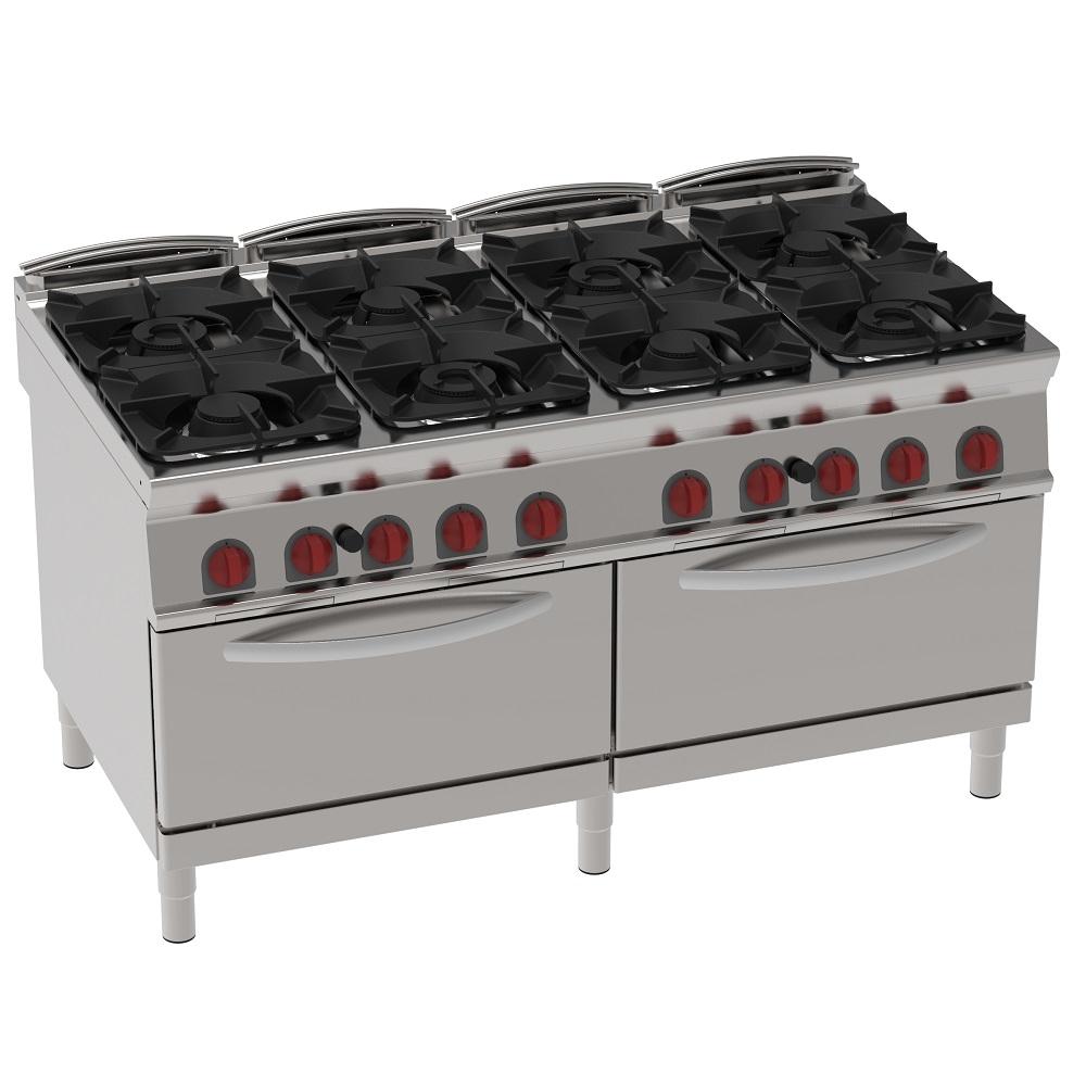 Eurast 34730313 Cocina 8 fuegos a gas 2 hornos estáticos a gas gn 2/1 - 1600x900x900 mm - 72 Kw