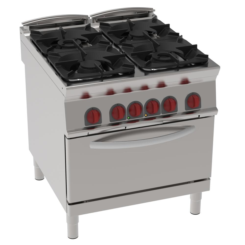 Eurast 42011313 Cocina 4 fuegos a gas 1 horno a conv. eléc. gn 1/1 - 800x900x900 mm - 29 Kw + 5 Kw 4