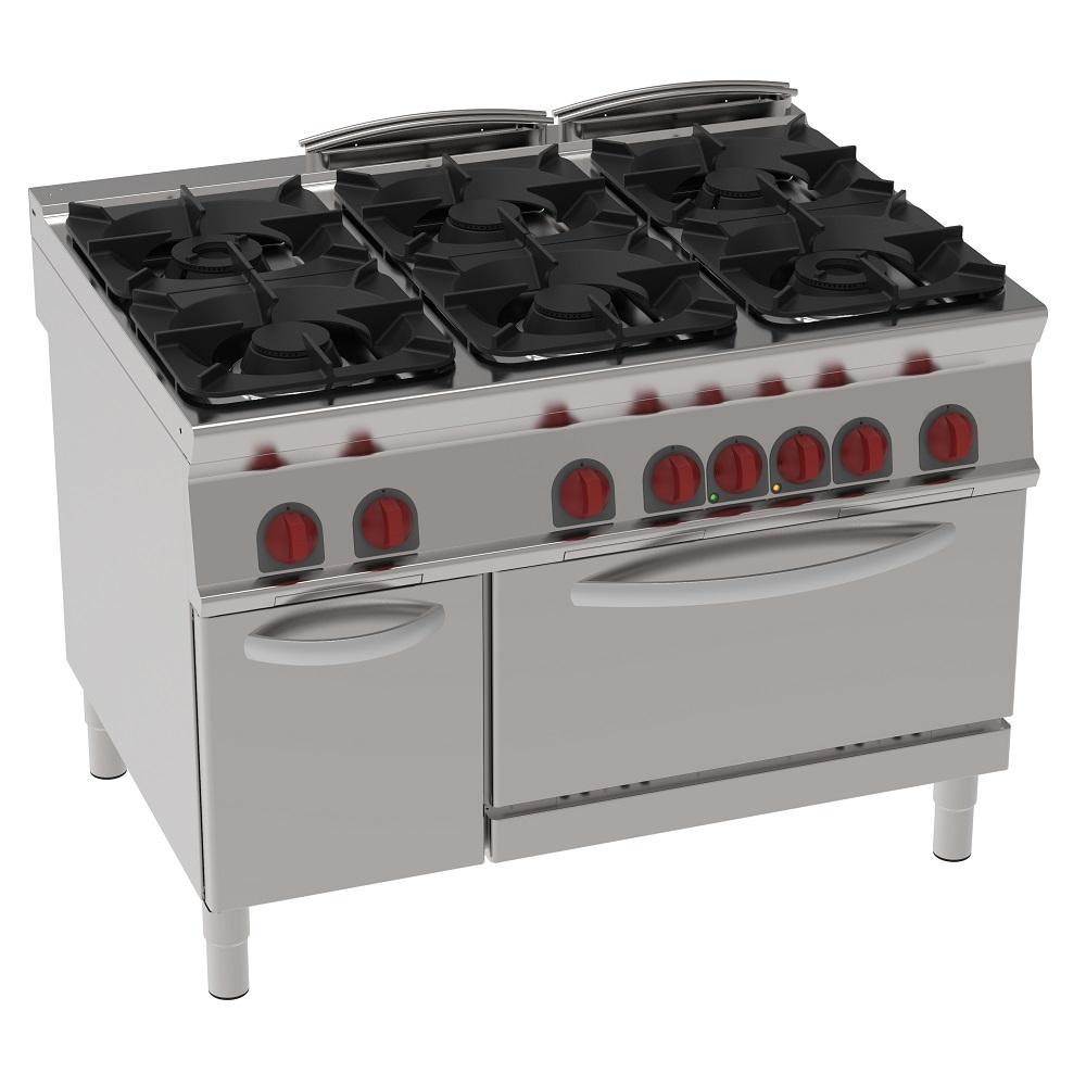 Eurast 42111313 Cocina 6 fuegos a gas 1 horno a conv. eléc. gn 1/1 - 1200x900x900 mm - 40 Kw + 5 Kw