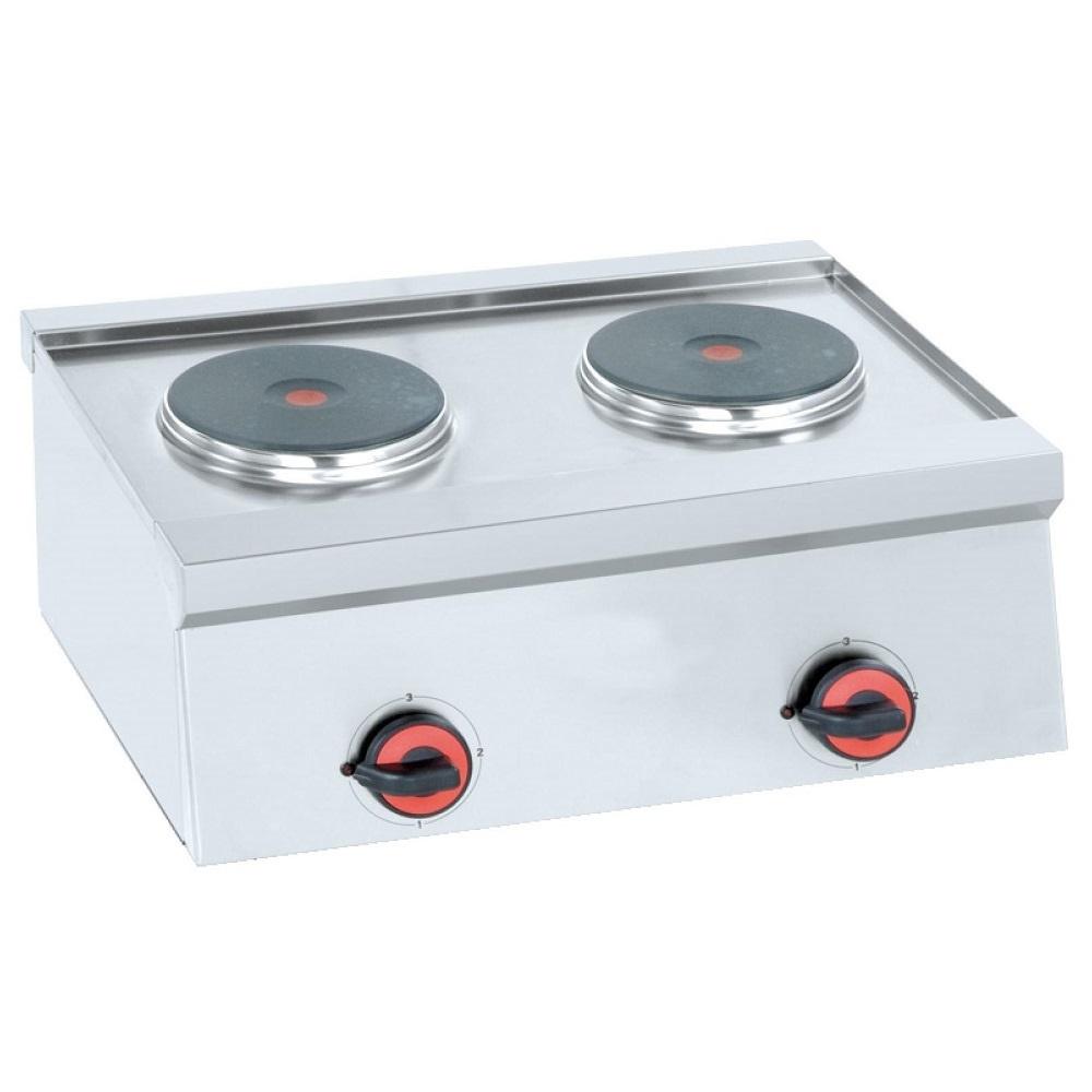 Eurast 44820M10 Hornillo eléctrico 2 placas de sobremesa - 600x450x240 mm - 4 Kw 230/1V