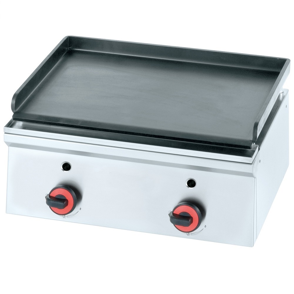 Eurast 44030M10 Gas iron hot plate 10 mm  smooth table top - 600x450x240 mm - 7 Kw