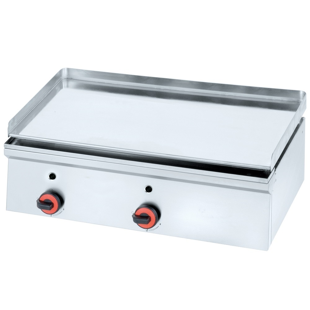 Eurast 44440M10 Gas hard chrome hot plate 12 mm  smooth table top - 800x450x240 mm - 14 Kw