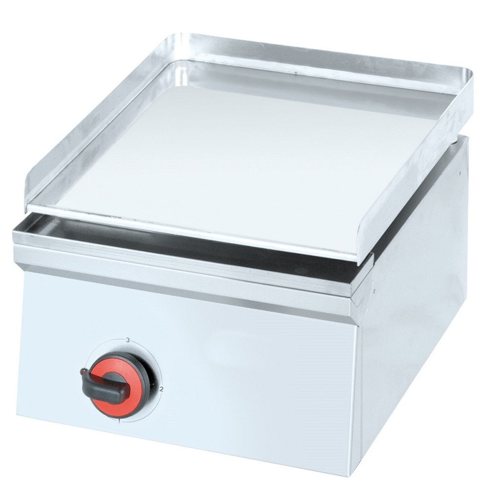 Eurast 4442EM10 Electric hard chrome hot plate 12 mm smooth table top - 400x450x240 mm - 2 Kw 230/1V