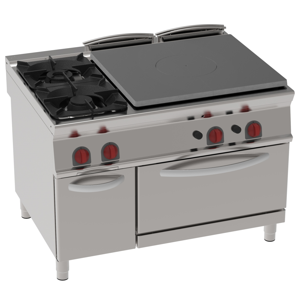 Eurast 48230313 Gas solid top 3 burners and 1 static gas oven gn 2/1 - 1200x900x900 mm - 32.5 Kw