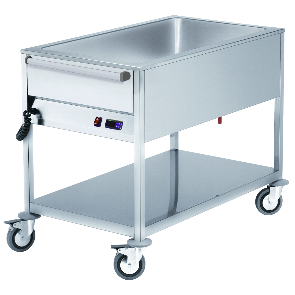 Eurast 52020240 Electric bain marie for 3 gn 1/1-200 with wheels - 1100x570x900 mm - 2,4 KW 230/1V