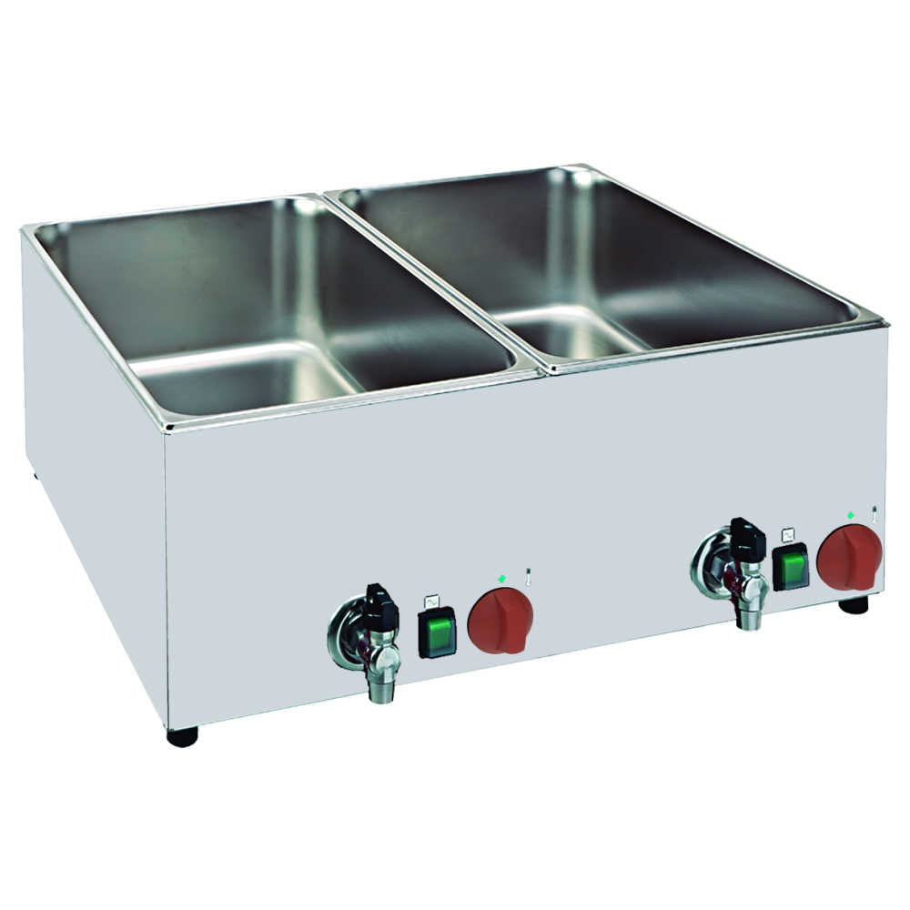 Eurast 53040240 Electric bain marie for 2 gn 1/1/1 on table top - 650x560x250 mm - 3 KW 230/1V