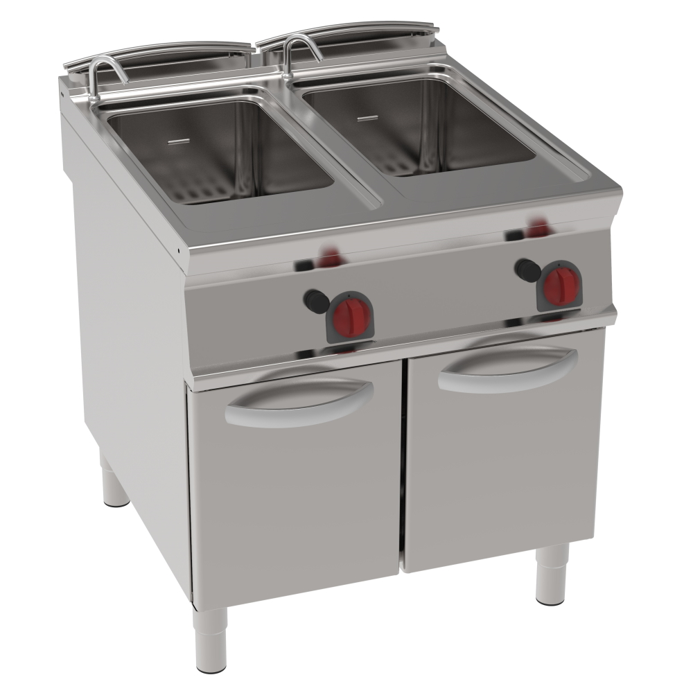Eurast 39170313 Gas pasta cooker 40+40 litres 2 doors - 800x900x900 mm - 30 Kw