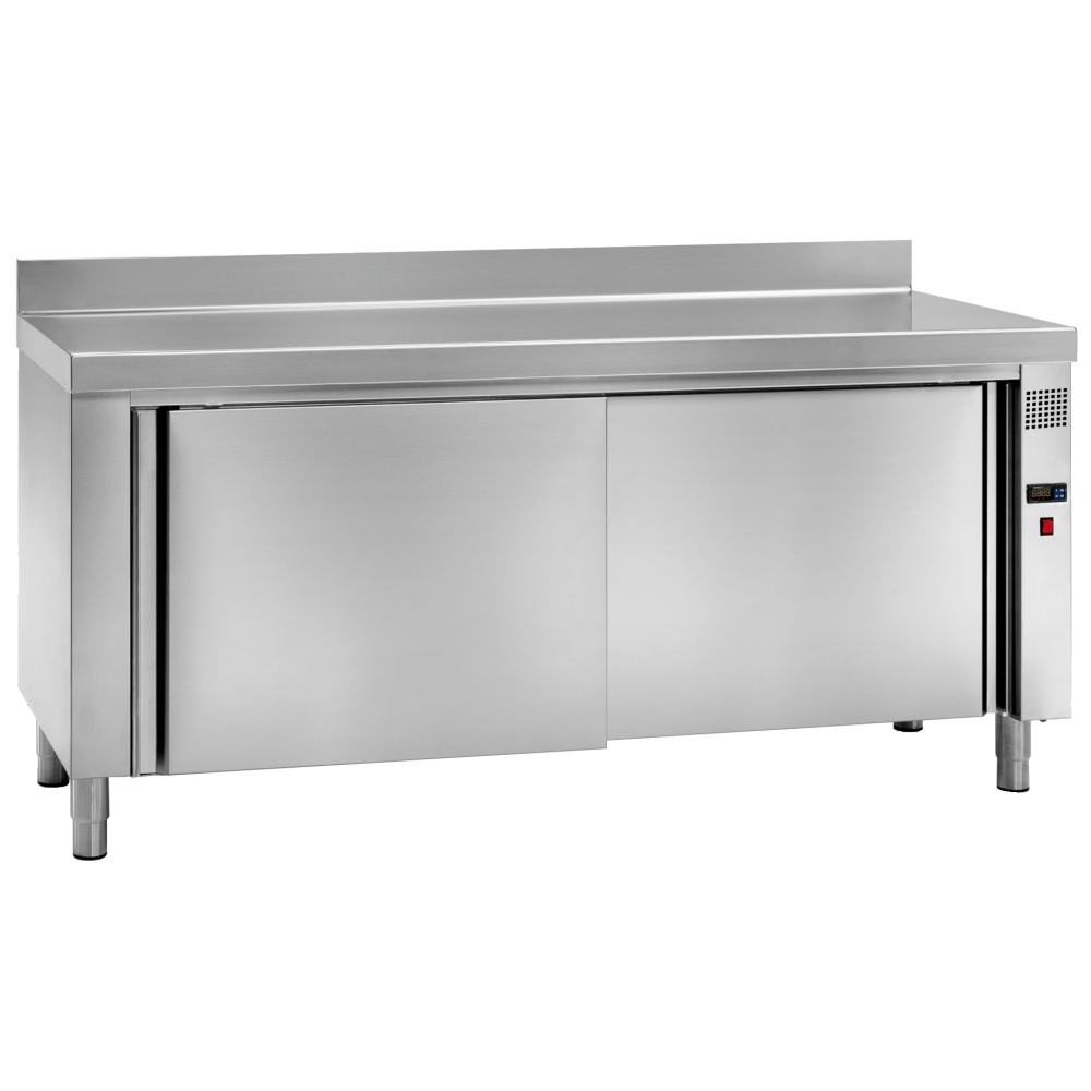 Eurast 61000440 Wall electric hot table for dishes 2 doors 2 shelves - 1600x600x850 mm - 3 KW 230/1V