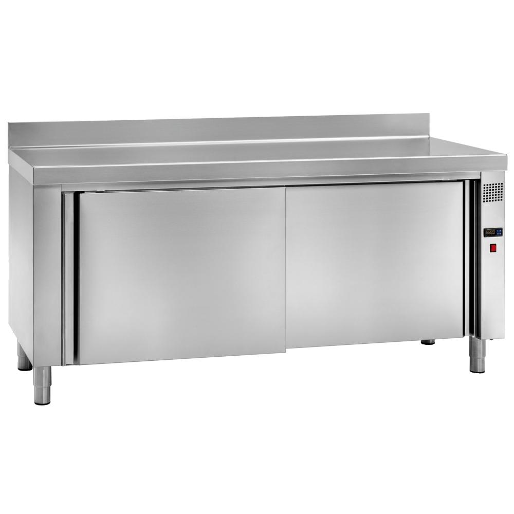 Eurast 64000340 Mesa caliente mural elec. platos 2 puertas 2 estantes - 2000x700x850 mm - 3 KW 230/1