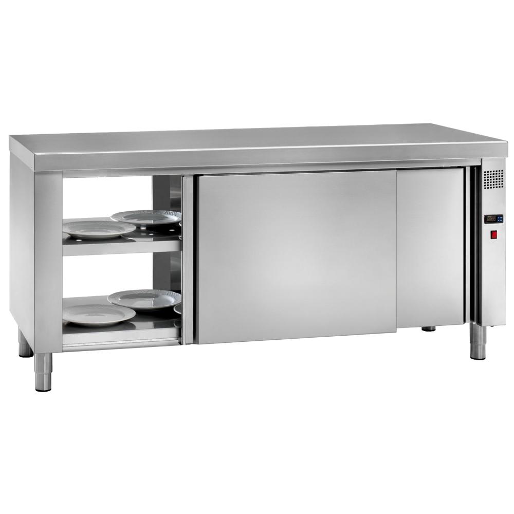 Eurast 66010440 Mesa caliente central elec. platos 4 puertas 2 estantes - 1600x600x850 mm - 3 KW 230