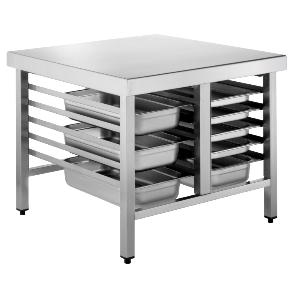 Eurast 41302050 Oven support table with guides for 6+6 gn 1/1 or 2/1 - 1100x850x700 mm