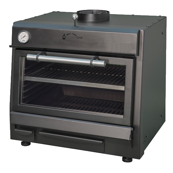 Eurast 52101054 Black charcoal oven with 585 x 465 grid - 700x610x650 mm