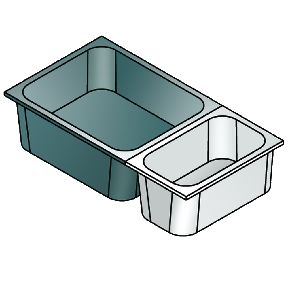 Eurast CP230401 Gastronorm container 2/3 - 40 stainless steel - 352x325x40 mm