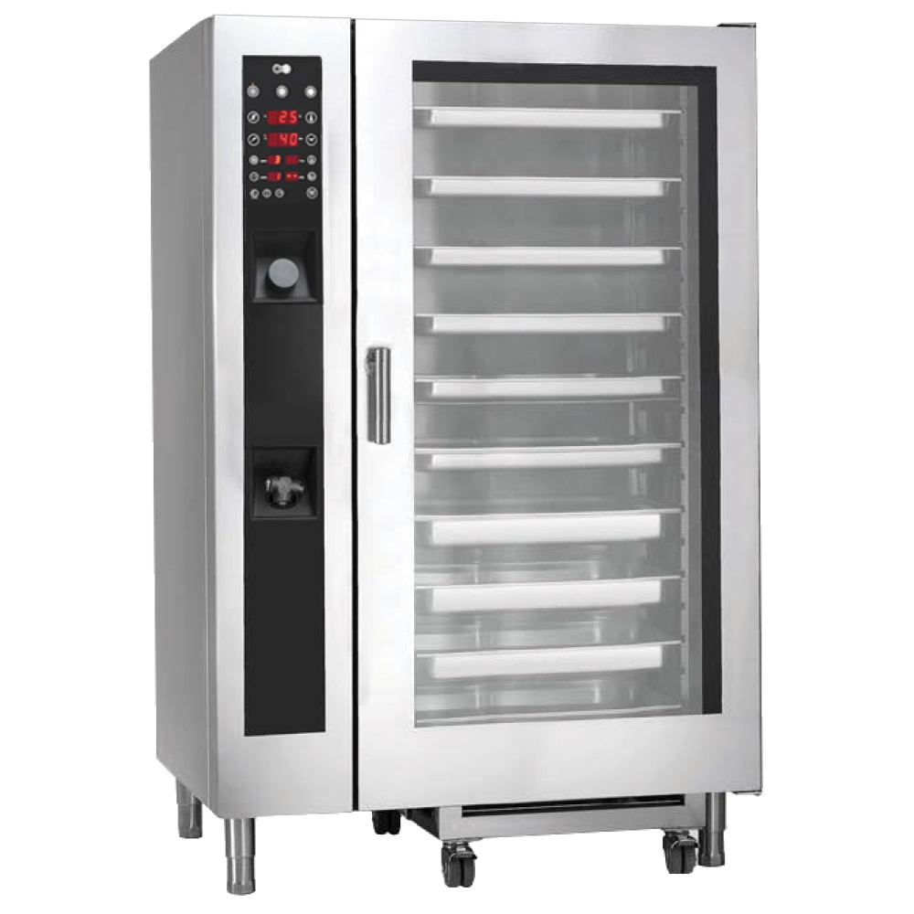 Eurast 41W202GP Mixed oven conv.-steam dir. gas 20 gn 2/1 - 1200x910x1850 mm - 56 Kw + 1600 W 230/1V