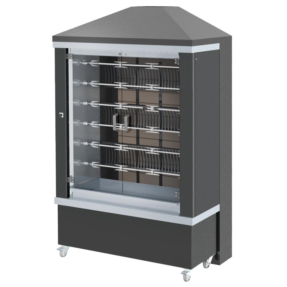 Eurast 53365G1B Firewood chicken roaster ibero series 6 esp. = 36/42 chickens black - 1300x700x2185
