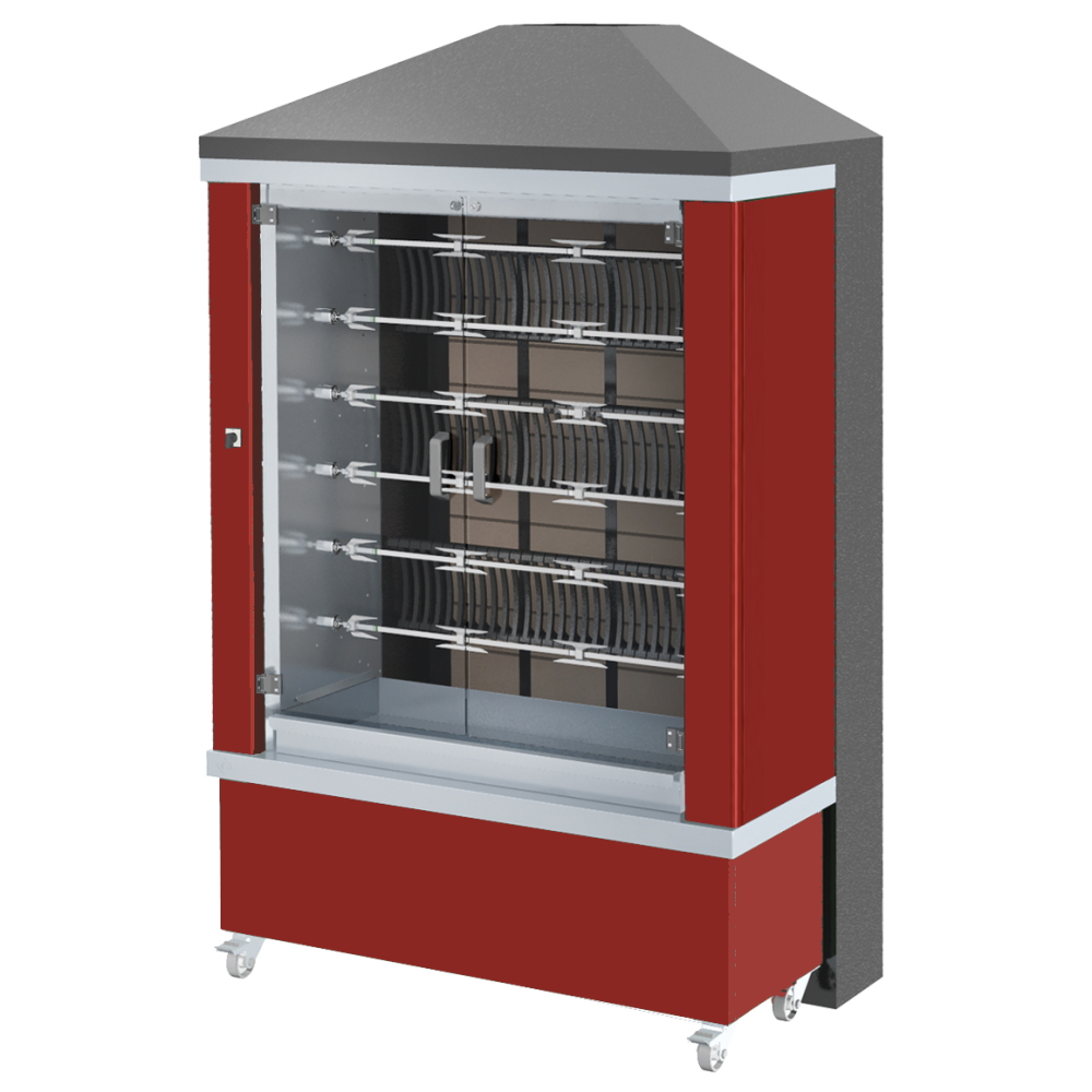 Eurast 53365G1R Firewood chicken roaster ibero series 6 esp.= 36/42 chickens red - 1300x700x2185 mm