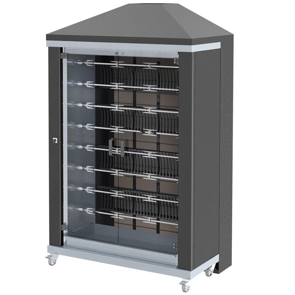 Eurast 53485G1B Firewood chicken roaster ibero series 8 esp.= 48/56 chickens black - 1300x700x2185 m