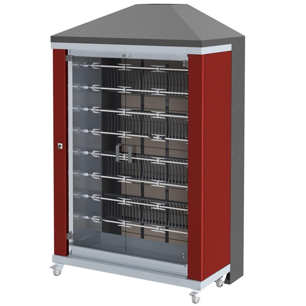 Eurast 53485G1R Firewood chicken roaster ibero series 8 esp.= 48/56 chickens red - 1300x700x2185 mm