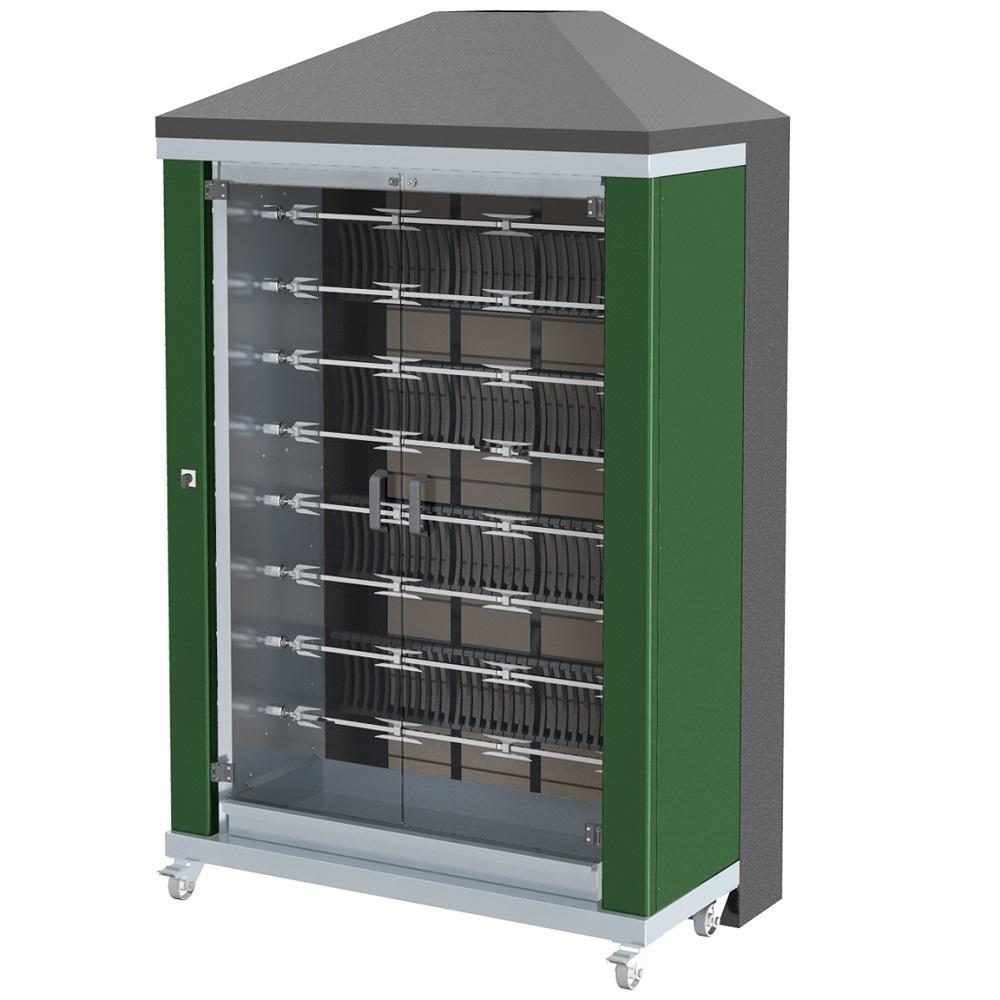 Eurast 53485G1G Firewood chicken roaster ibero series 8 esp.= 48/56 chickens green - 1300x700x2185 m