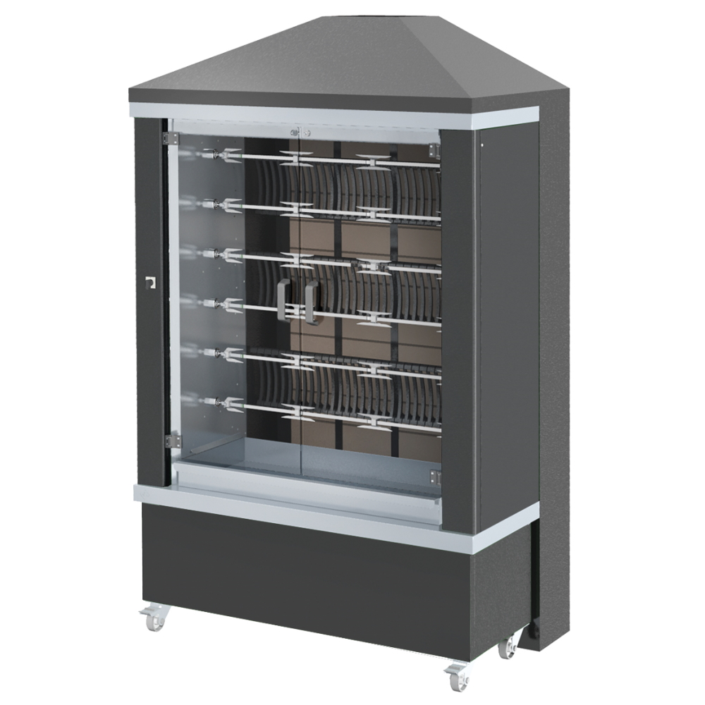 Eurast 53665G1B Firewood chicken roaster ibero series 11 esp.= 66/77 chickens black - 1300x950x2185