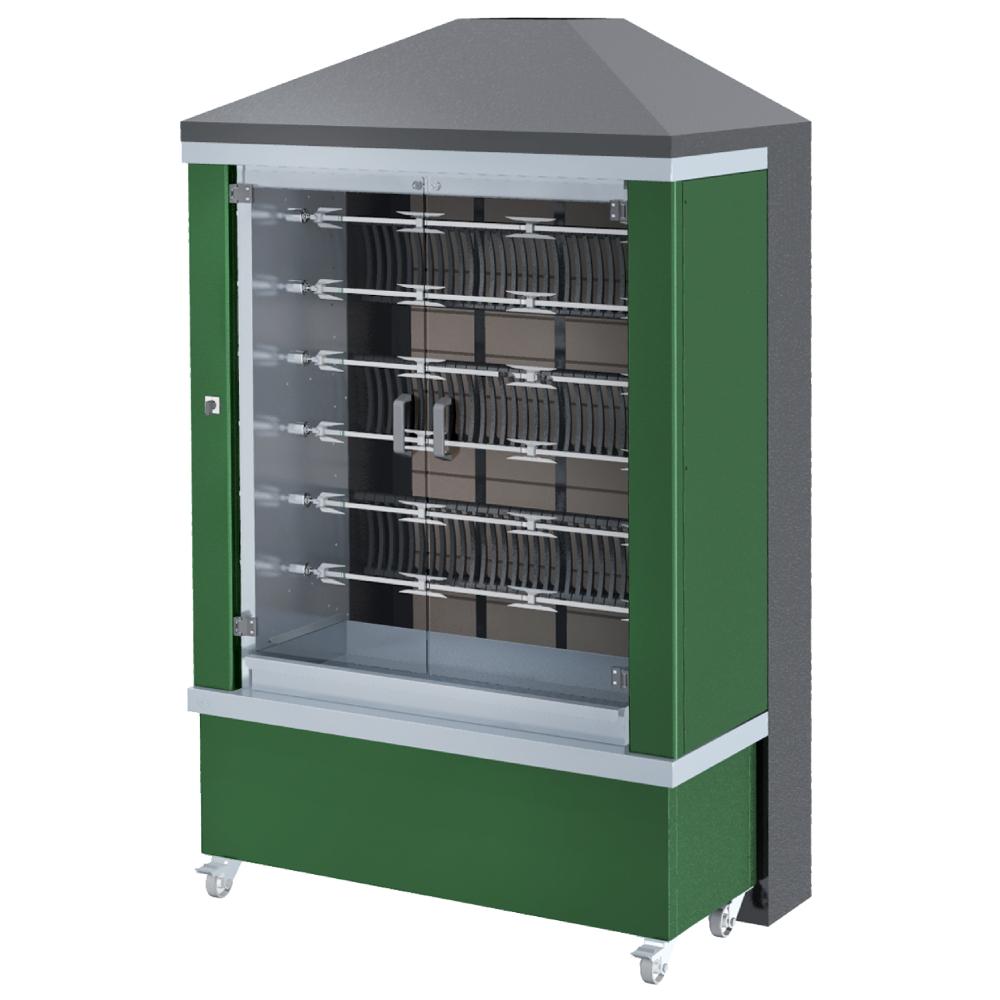 Eurast 53665G1G Firewood chicken roaster ibero series 11 esp.= 66/77 chickens green - 1300x950x2185