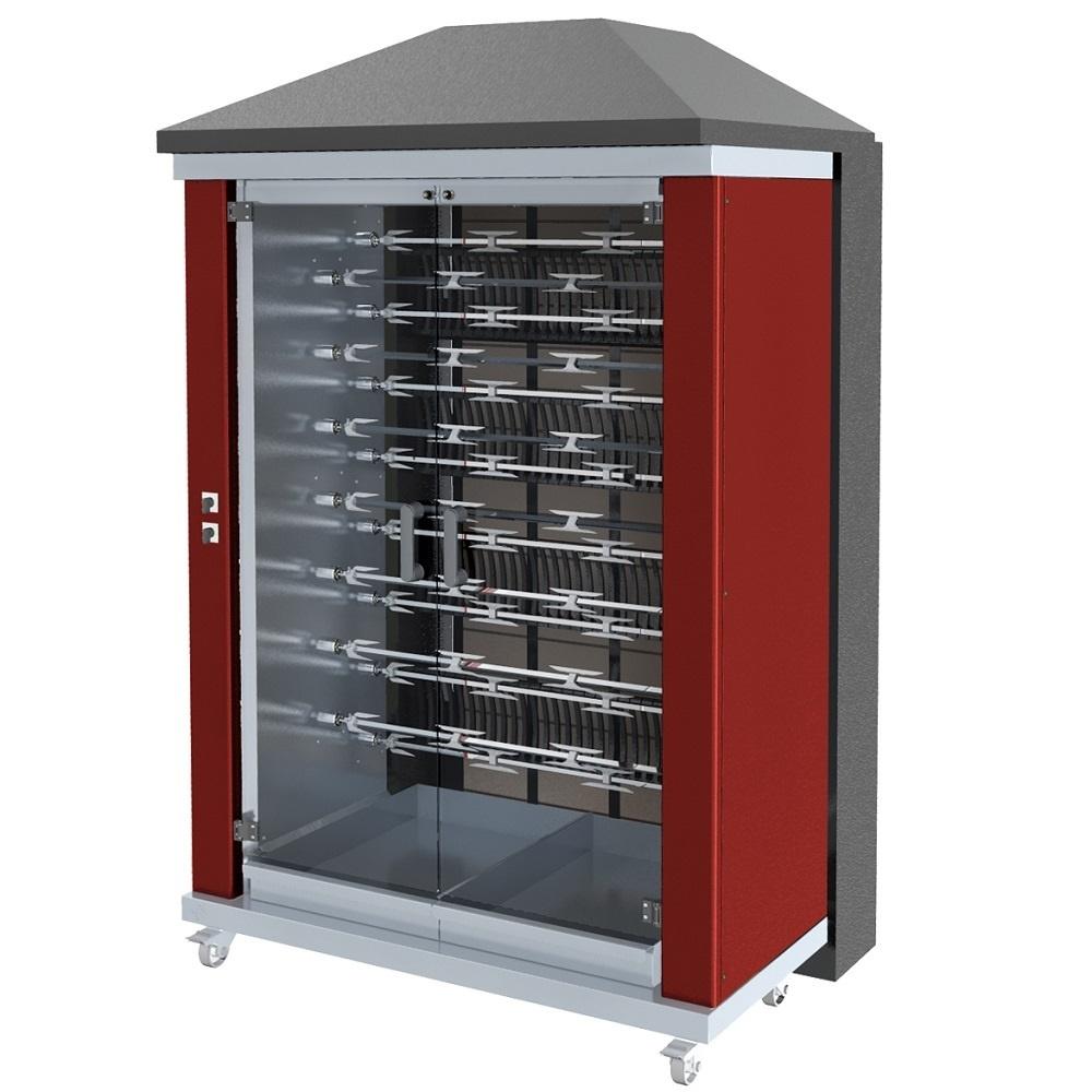 Eurast 53905G1R Firewood chicken roaster ibero series 15 esp.= 90/105 chickens red - 1300x950x2185 m