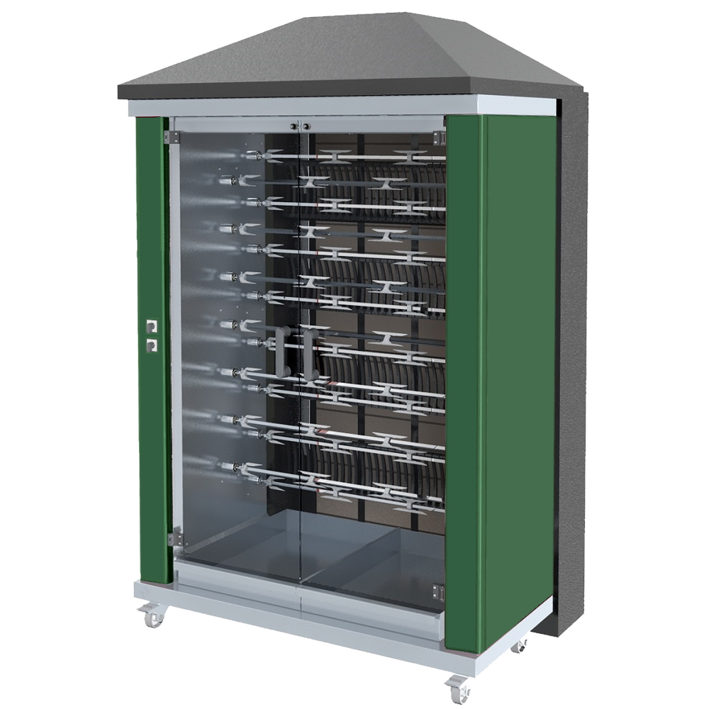 Eurast 53905G1G Firewood chicken roaster ibero series 15 esp.= 90/105 chickens green - 1300x950x2185