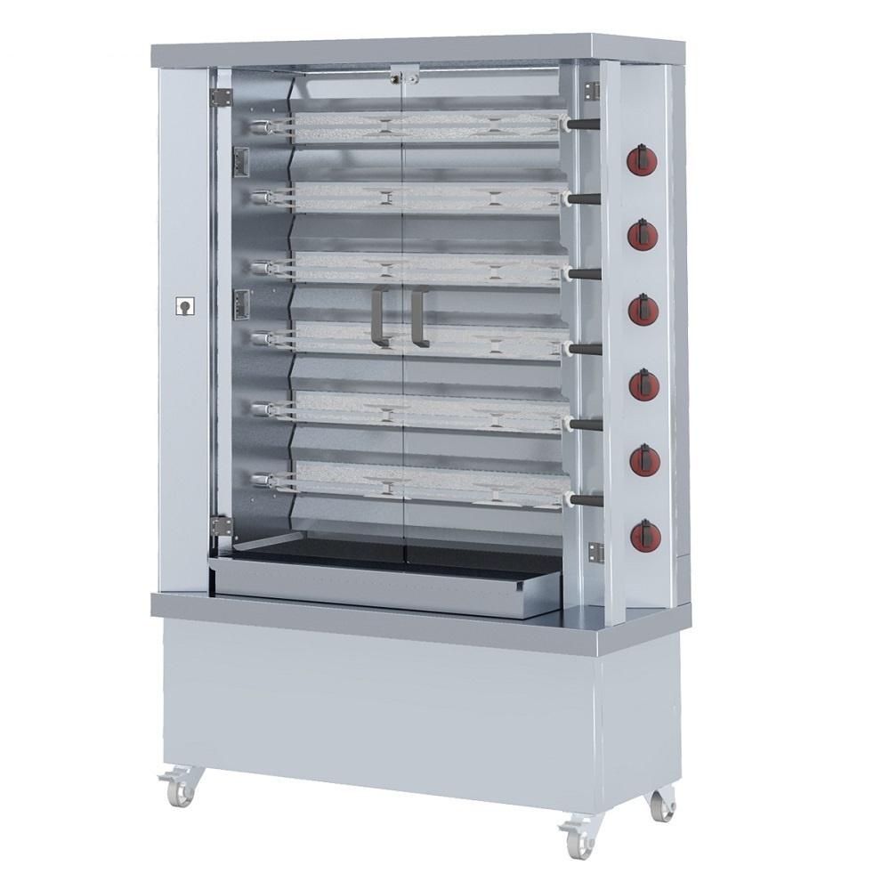 Eurast 53300G13 Gas chicken roaster serie m 6 spears = 30 chickens - 1200x500x1880 mm - 34.8 Kw + 11