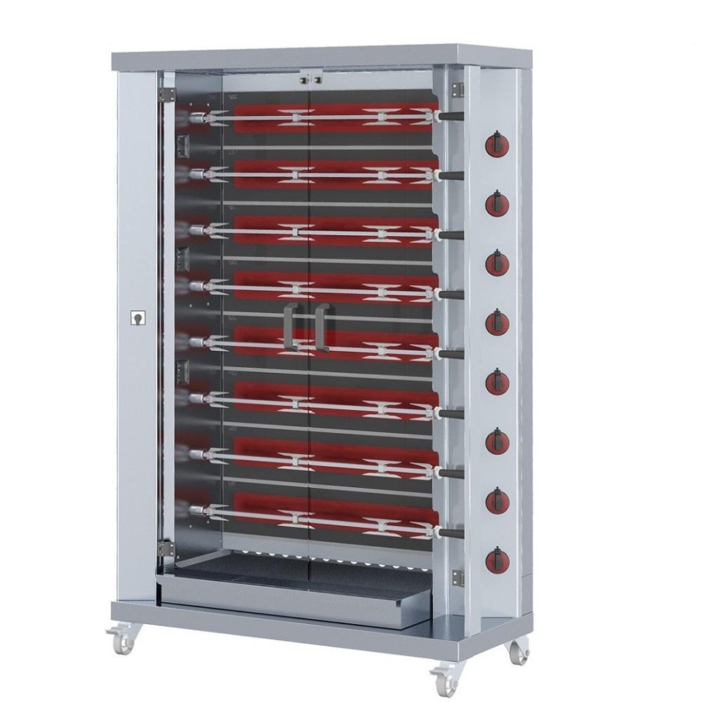 Eurast 53404G13 Electric chicken roaster serie m glass-ceramic 8 spears = 40 chickens - 1200x500x188