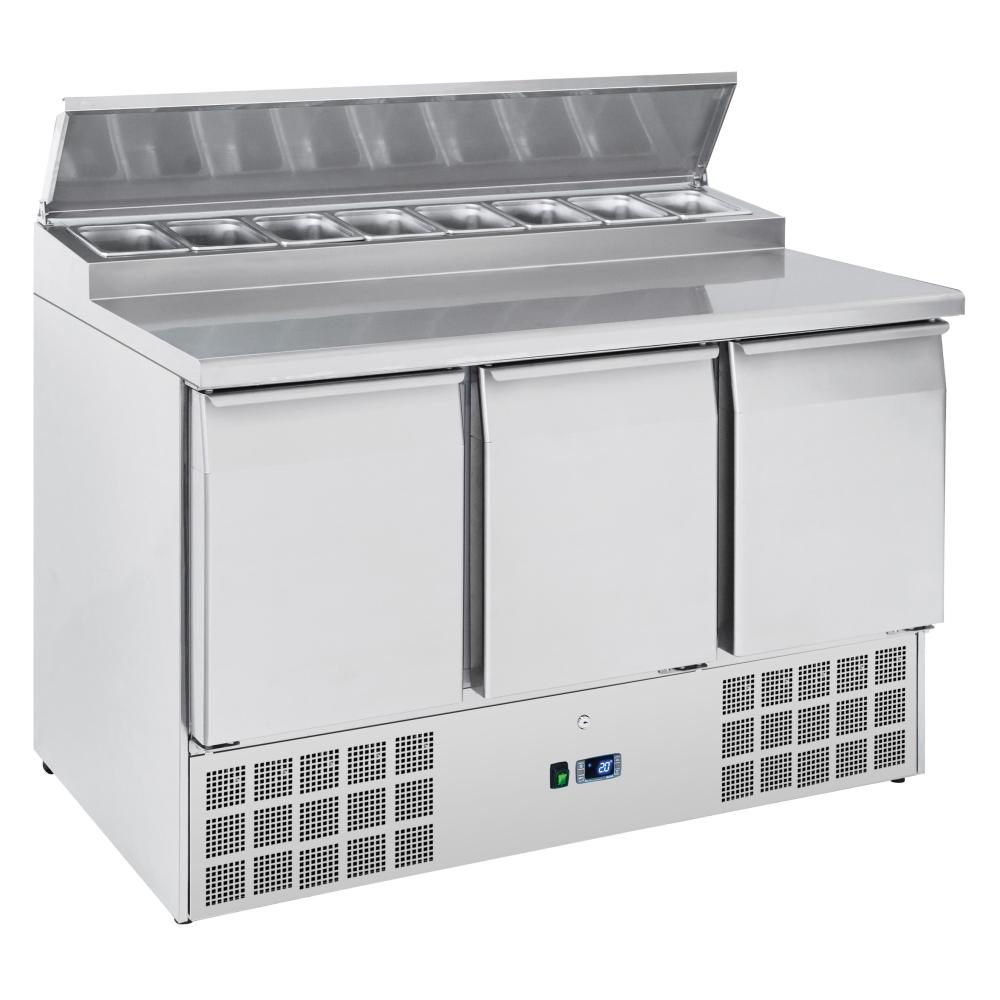Eurast 73A39SRC Unit for preparing sandwiches 3 doors 8 trays 1/6-150 - 1365x700x880 mm - 300 W 230/