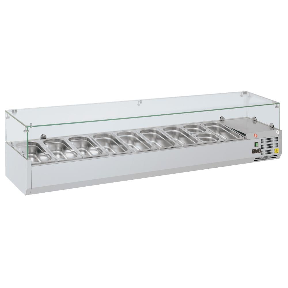Eurast 79V8302X Refrigerador de ingredientes 9 cubetas gn 1/3 - 2000x395x440 mm - 160 W 230/1V