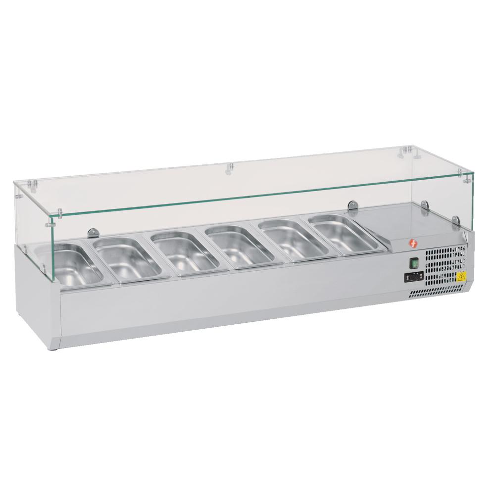 Eurast 76V3341X Refrigerador de ingredientes 6 cubetas gn 1/4 - 1400x335x440 mm - 160 W 230/1V