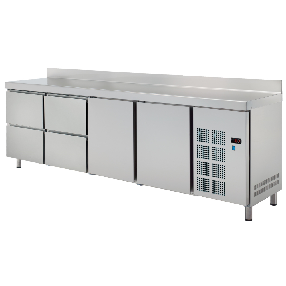 Eurast 78289509 Cold table 2 doors 4 drawers - 2545x600x850 mm - 400 W 230/1V