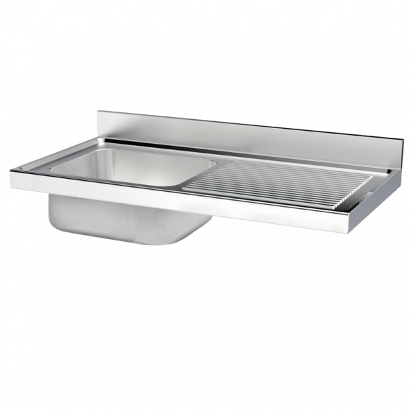Eurast 2420D158 Unsupported sink 1 drainer and 1 bowl 860x500x380 - 1600x700x380 mm