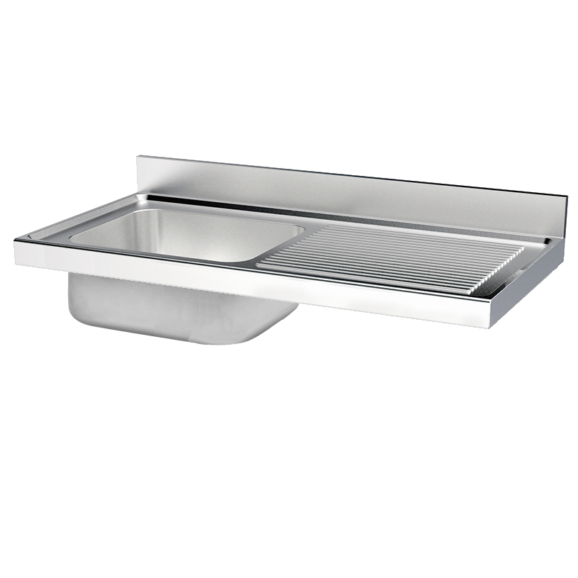 Eurast 2430D151 Unsupported sink 1 drainer and 1 bowl 1160x500x380 - 2000x700x380 mm