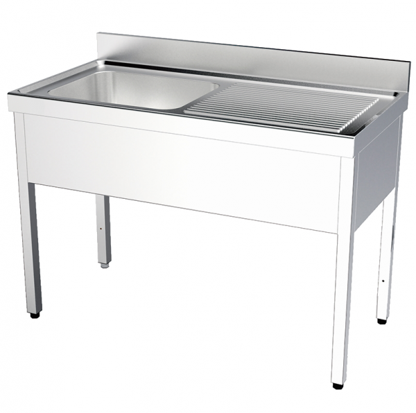 Eurast 2111D041 Sink with frame 1 drainer and 1 bowl 600x500x300 - 1400x700x850 mm