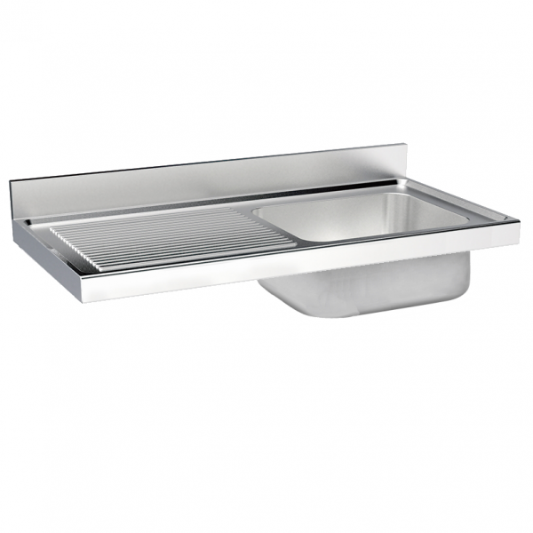 Eurast 2440I158 Unsupported sink 1 drainer and 1 bowl 860x500x380 - 1600x700x380 mm